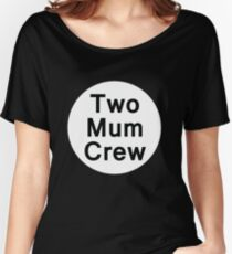 Two Mum Crew (Black Background Tee) Women's Relaxed Fit T-Shirt