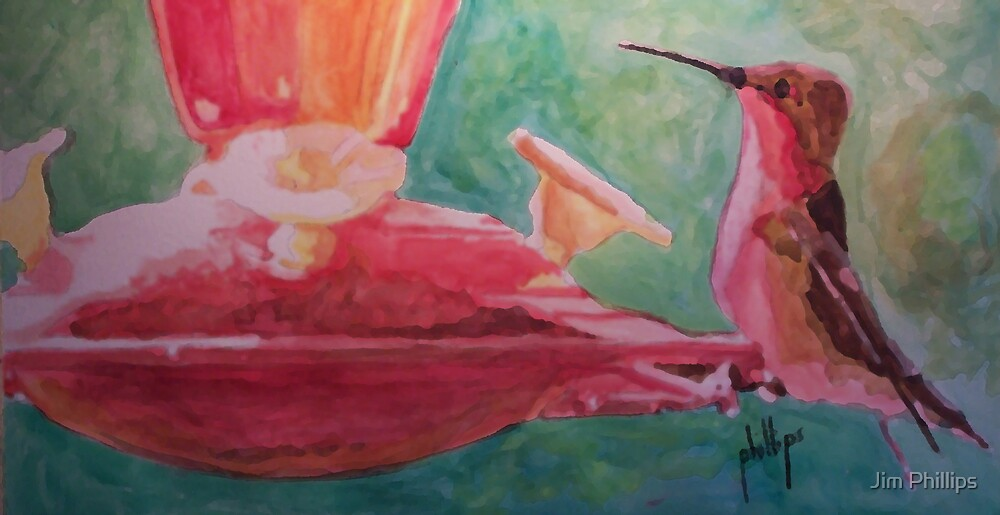 Red Hummingbird by Jim Phillips