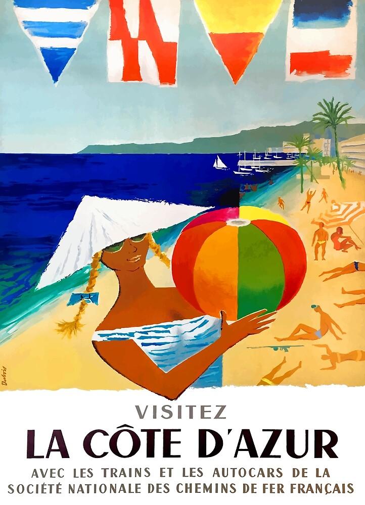 1957 Visitez La Cote D'Azur French Travel Poster by retrographics
