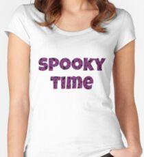 Spooky Time Happy Halloween Bats  Women's Fitted Scoop T-Shirt