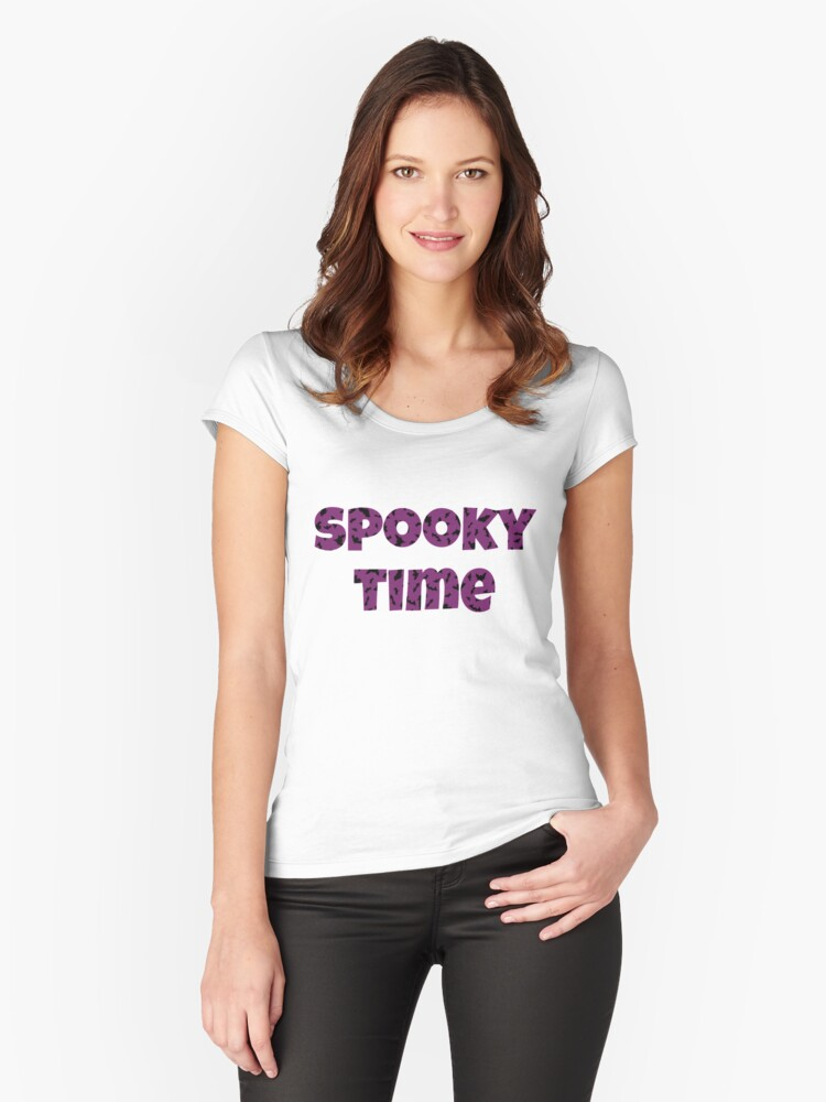 Spooky Time Happy Halloween Bats  Women's Fitted Scoop T-Shirt Front