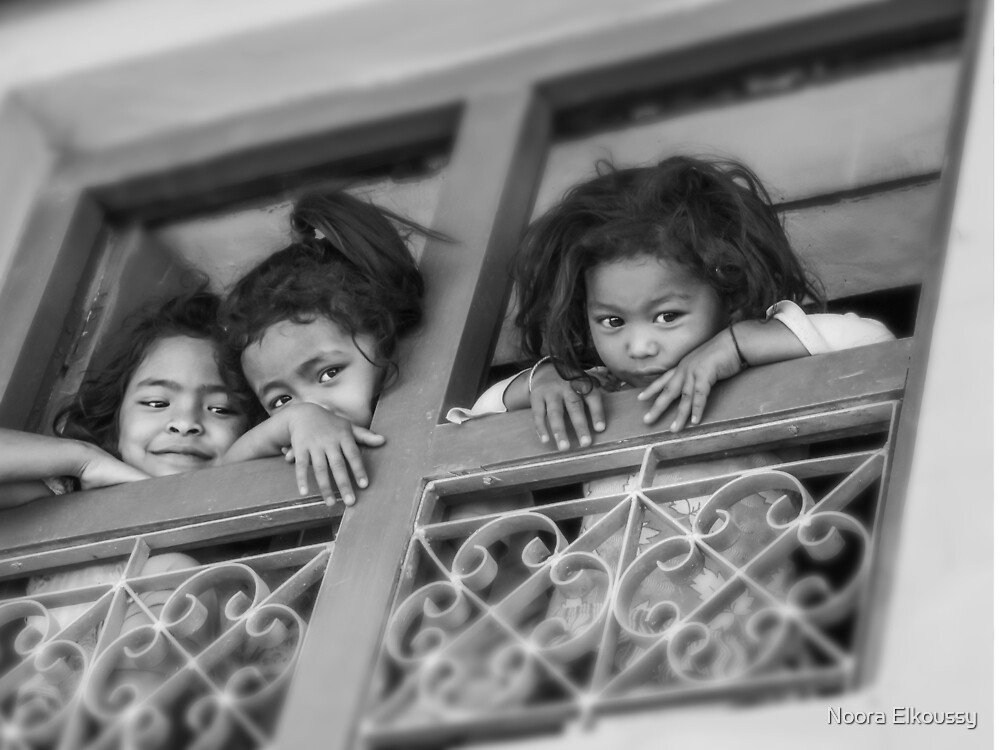 Three Girls in a Balcony, Nepal Photo by Noora Elkoussy