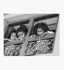 Three Girls in a Balcony, Photo by Noora Elkoussy Photographic Print