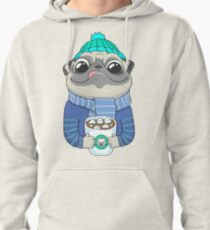 Pug with coffee Pullover Hoodie