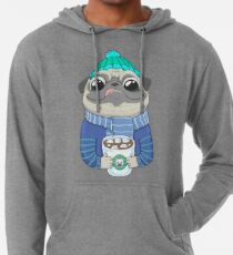 Pug with coffee Leichter Hoodie