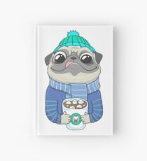 Pug with coffee Hardcover Journal