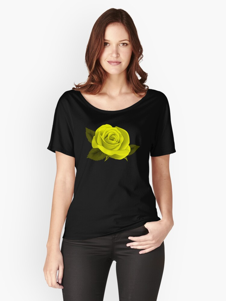 2017 TREND |SINGLE YELLOW NEON ROSE ON BLACK Women's Relaxed Fit T-Shirt Front