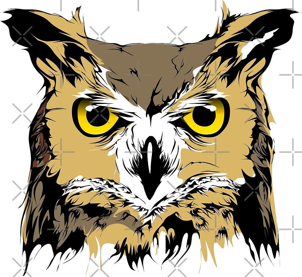 Owl Head Oil Paint Design by xEver