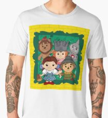 """Wizard of Oz"" Kawaii, Yellow, Brick, Road, Emerald, Green, Dorothy, Ruby, Slippers, Toto, Cowardly Lion, Scarecrow, Tin Man, Basket, Purse, Gingham, Blue, Splatter, Paint  Men's Premium T-Shirt"