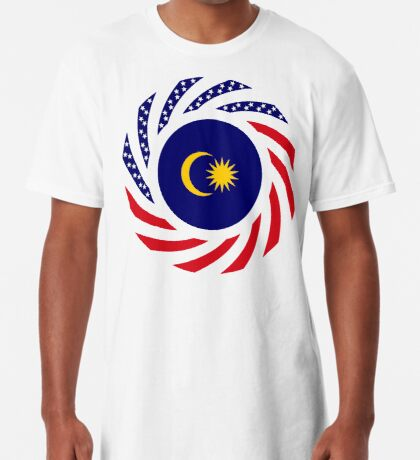 Malaysian American Multinational Patriot Flag Series Long T-Shirt