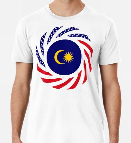Malaysian American Multinational Patriot Flag Series Premium T-Shirt