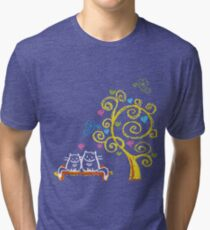 Two love cats and tree with hearts Tri-blend T-Shirt