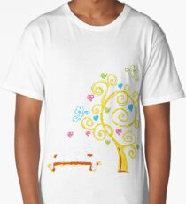 Two love cats and tree with hearts Long T-Shirt