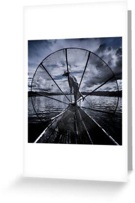 Burmese Net Fisherman - Greeting Card by Glen Allison