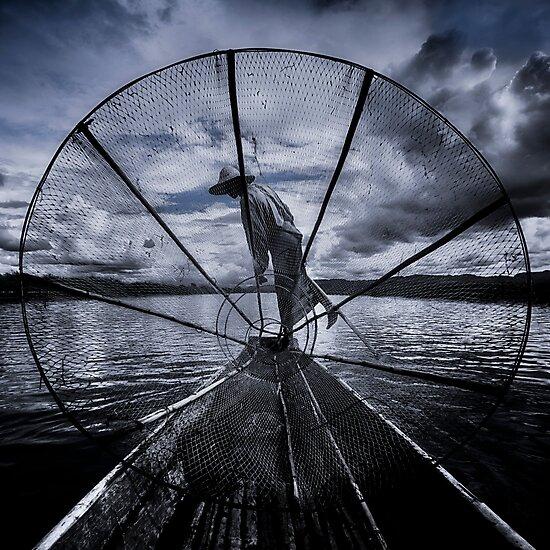 Burmese Net Fisherman - Photographic Print by Glen Allison