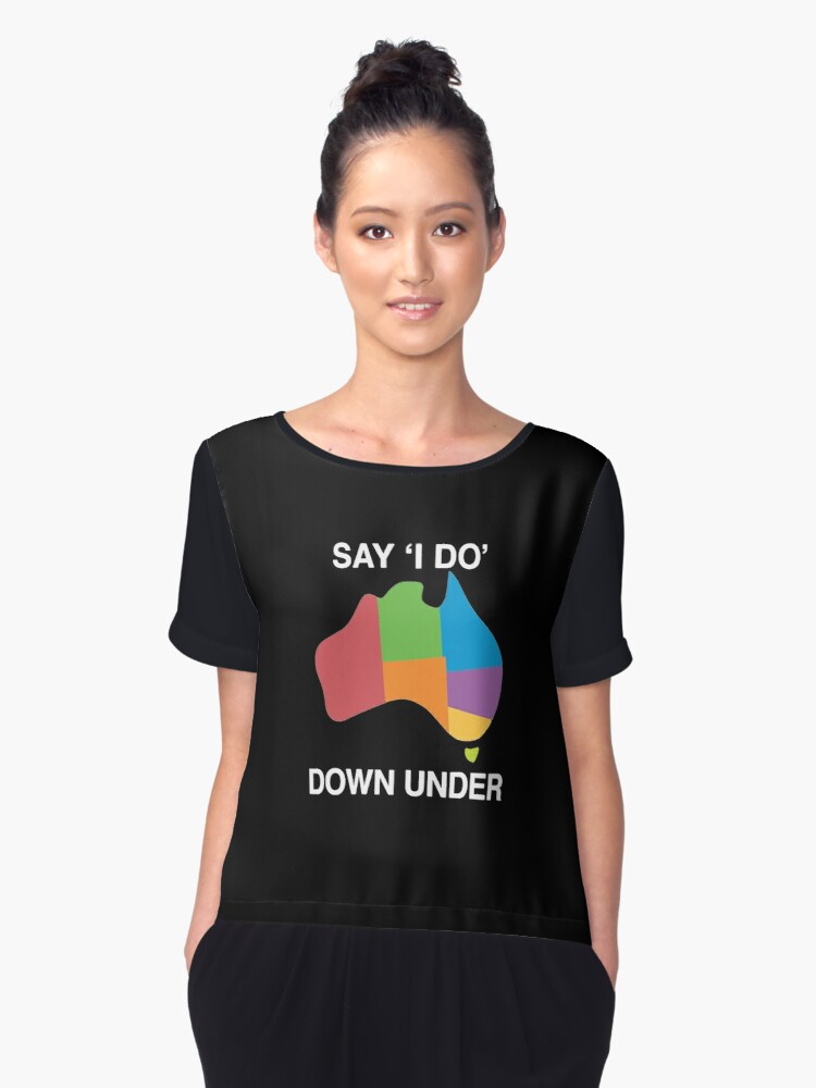 say i do down under Women's Chiffon Top Front