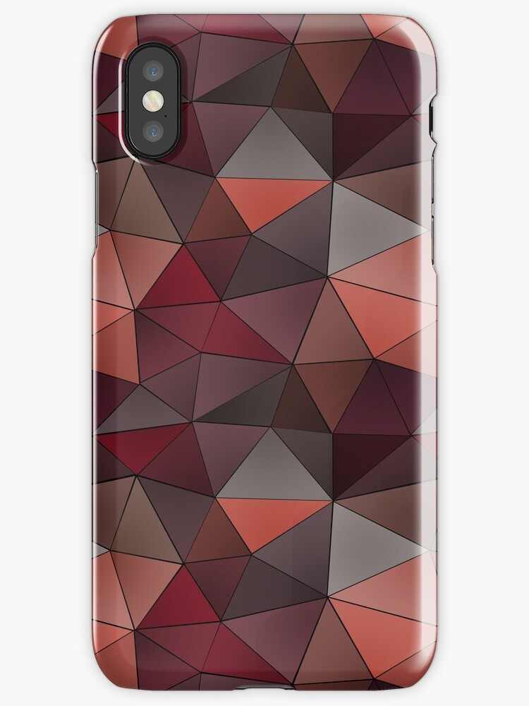 Abstract geometric polygon in gray, orange, red, brown tones. by marinaklykva