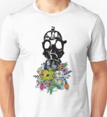 gas mask smelling colorful bouquet of flowers print T-Shirt
