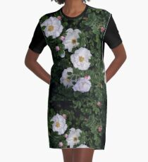 White Roses on a Bed of Black and Green  Graphic T-Shirt Dress