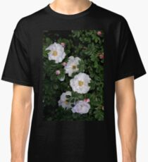 White Roses on a Bed of Black and Green  Classic T-Shirt