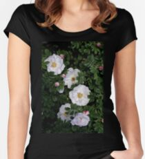 White Roses on a Bed of Black and Green  Women's Fitted Scoop T-Shirt