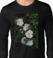 White Roses on a Bed of Black and Green  Long Sleeve T-Shirt