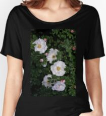 White Roses on a Bed of Black and Green  Women's Relaxed Fit T-Shirt