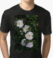 White Roses on a Bed of Black and Green  Tri-blend T-Shirt