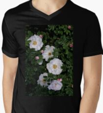 White Roses on a Bed of Black and Green  Men's V-Neck T-Shirt