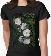 White Roses on a Bed of Black and Green  Women's Fitted T-Shirt