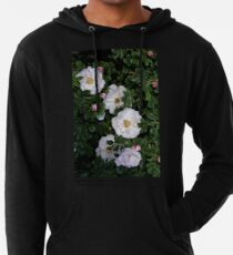 White Roses on a Bed of Black and Green  Lightweight Hoodie