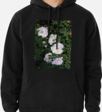 White Roses on a Bed of Black and Green  Pullover Hoodie