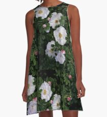 White Roses on a Bed of Black and Green  A-Line Dress