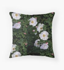 White Roses on a Bed of Black and Green  Floor Pillow