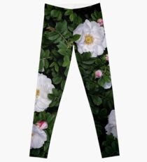 White Roses on a Bed of Black and Green  Leggings