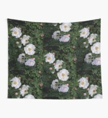 White Roses on a Bed of Black and Green  Wall Tapestry