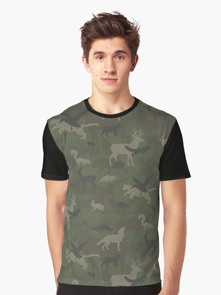 Woodland Animal Camouflage Graphic T-Shirt Front