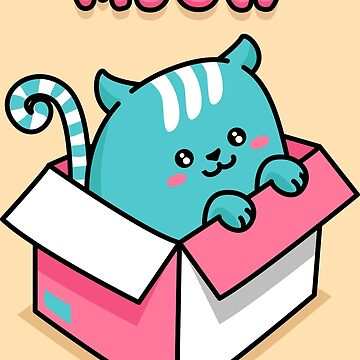 Kawaii Blue Neko Cat in Box - Meow by DoodleJourney