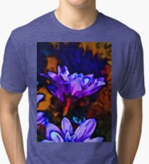 Lavender and Cobalt Blue Flower with some Brown Tri-blend T-Shirt