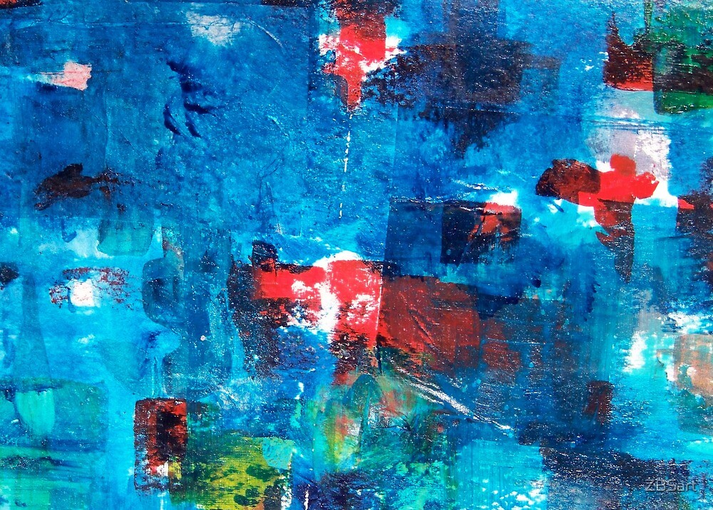 ABSTRACT WORLD WATERCOLOR COLLAGE #1_02 ZBSART by ZBSart