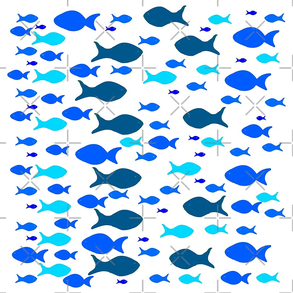 Blue Fishes Pattern by Manitarka