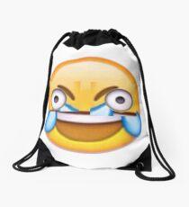 Open Eye Crying Laughing Emoji Drawstring Bag