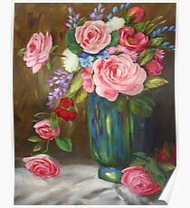 Pink and Red Mixed Bouquet Painting Poster