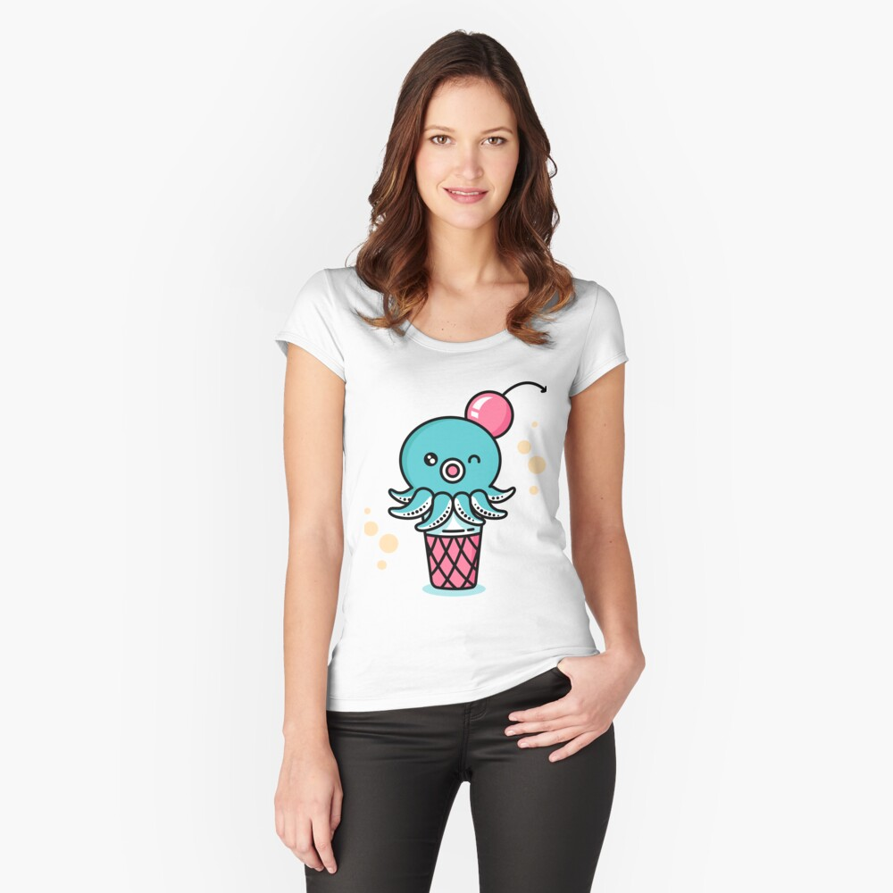 Octopus Ice Cream - Kawaii Sweet Squid Japan Anime Women's Fitted Scoop T-Shirt Front