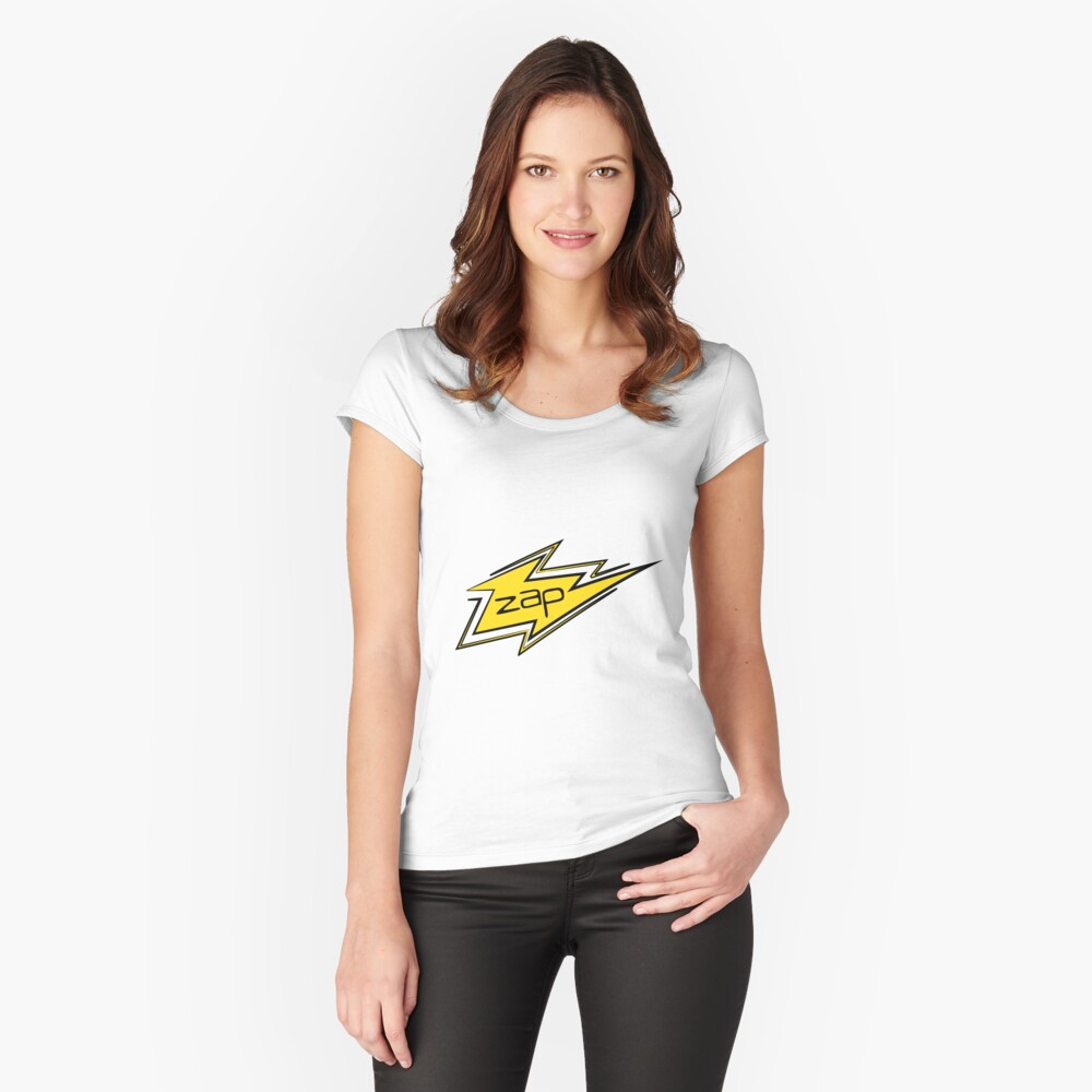 Lightning Zap Electrifying Comic Effect Women's Fitted Scoop T-Shirt Front