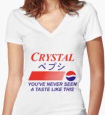 Crystal Pepsi Logo Japanese Women's Fitted V-Neck T-Shirt