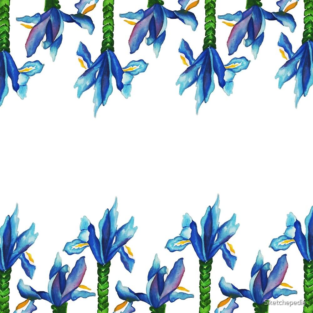 Blue Watercolor Floral Art by Sketchepedia