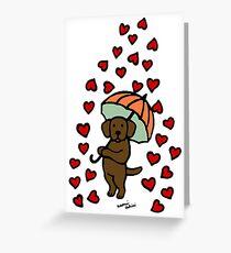 Chocolate Labrador Rain of Hearts Greeting Card