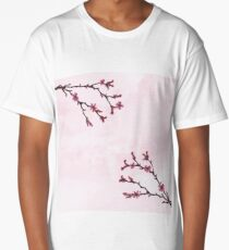 Cherry Blossom Watercolor Pink Art Long T-Shirt