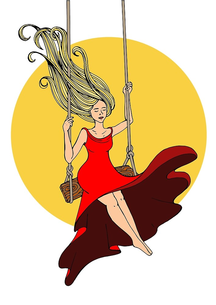 girl swinging on a swing in a red dress by KaterinaSan